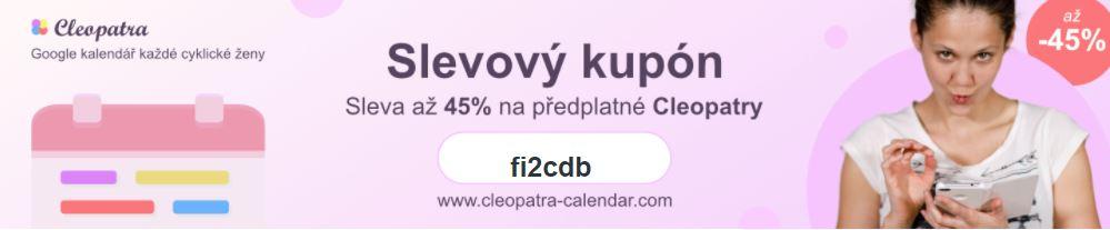Slevový kupon nacyklický Google kalendář Cleopatra